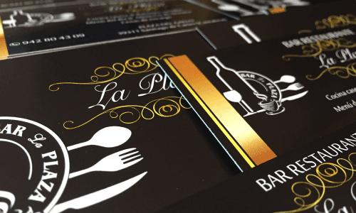 Tarjetas de visita bar restaurante La Plaza en Cartes.