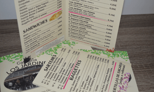 Diseño cartas de menú para bares y restaurantes en Cantabria, Santander y Torrelavega. Diseño e impresión cartas de menús baratas. Publicidad en Cantabria